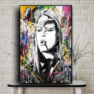Граффити Street Art Курение красоты девушка Аннотация Холст Картина Плакаты и печать Cuadros Banksy Wall Art Picture Home Decor