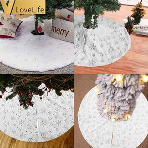 90CM 122CM Christmas Tree Skirt Luxury Faux Fur Christmas Tree Skirt White for Xmas Party Holiday Decorations