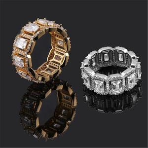 Hip Hop jóias anéis de luxo de ouro 18K anéis Cluster grau de qualidade Glaring Zircon pavimentada Moda Wedding Rings Atacado
