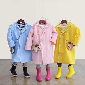 어린이 비옷 불 침투성 후드 레인 코트 방수 외투의 일종 노란색 여자 아이 아기 캠핑 롱 코트 여성 하이킹 60YY043