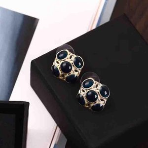 New arrival blue color round shape earring women stud handmade fashion stud earring jewelry gift PS5772