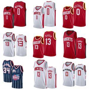 men's houstonrocket jersey james 13 harden russell 0 westbrook hakeem 34 olajuwon cheap city white edition basketball jerseys