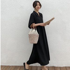2020 Summer New Fashion Womens Girl Female Black Loose Causal Long Shirt Dress Patchwork Cotton Korea Dresses E120