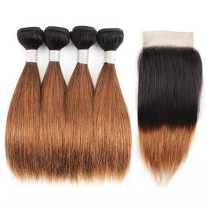 1B 30 Ombre Brown Hair Bundles With Closure Dark Roots 50g Bundle 10-12 Inch 4 Bundles Brazilian Straight Human Hair Extensions