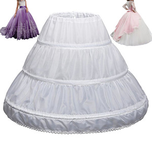 Kids Wedding Underskirt Girl Children Petticoat 3 Hoops One Layer Kids Crinoline Lace Trim Flower Girl Dress