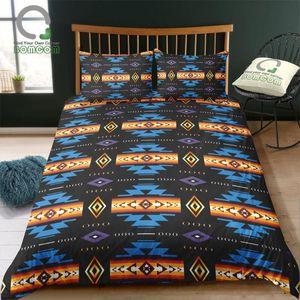 BOMCOM Digital Printing Bedding Set Aztec Pattern Blue Black Orange Duvet Cover 100% Microfiber