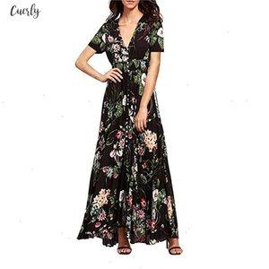 Dresses Ladies Summer Dress Women Maxi Sundress Split Floral Print Flowy Evening Party Female Long Dresses Designer Clothes