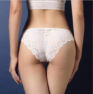 Multicolor Luxury handmade lace ladies underwear sexy lace transparent temptation briefs low waist hip hollow T pants