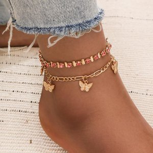 2 Pcs set Pink Crystal Stone Butterfly Pendant Anklets for Women Geometric Foot Chain Summer Jewelry Gifts