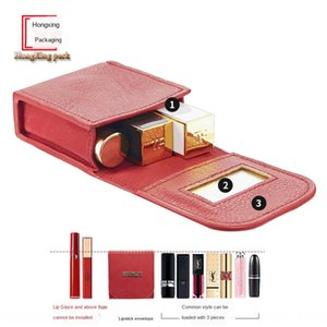 Fashion PU laser mini lipstick with mirror small portable portable makeup storage cosmetic lipstick cosmetic bag makeup bag