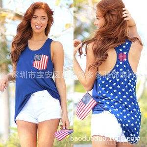 American five-pointed star printed sleeveless American five-pointed star printed Vest national flag national flag sleeveless vest