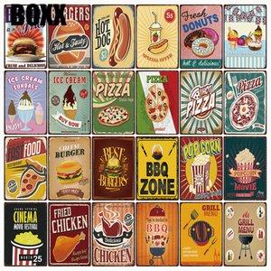 Alimentos Hot Dogs Hamburger BBQ Chicken Pizza metal Placa de lata Poster Home Decor Bar Wall Art pintura 20 * 30 CM Tamanho