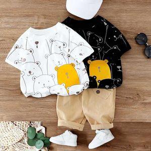 Cartoon Bear Print T shirt Pants Set 2Pcs Children Clothing For Baby Boys Clothes Suit Kids Girls Summer Short Sleeve Clothes