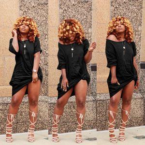 Fashion Hip Hop Casual Apparel Womens Summer Designer Solid Color Dresses Crew Neck Short Sleeve Female Clothing