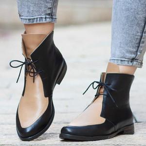 Oeak Bottines femmes Patchwork PU cuir Chaussures femmes Chaussures lacées Boucle épais talon court Bottes Casual Chaussures Feminina