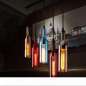 Vintage LED chandelier Lamp E27 Red Wine Bottle Glass Pendant Light Restaurant Cafe Bar Hotel Wine Bottle Hanging Lamps