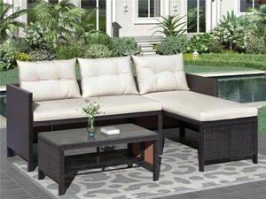 3 Piezas Patio al aire libre Conjuntos de muebles de ratán silla de mimbre del sofá de cojines, cubierta del patio trasero al aire libre junto a la piscina Porche Jardín Balcón