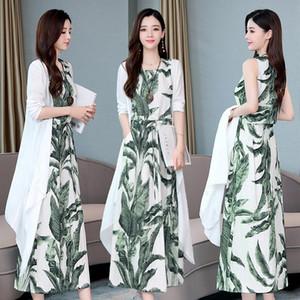 Tank Dress Vita Cotone Lino vestiti lunghi 2020 nuove donne di estate e cardigan sottile dell'annata della stampa Eleagnt Lady Two Piece Dress