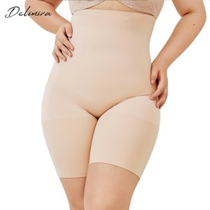 DELIMIRA Women's Seamless Plus Size High Waist Control Panties Shapewear Thigh Slimmer Body Shaper Y200710