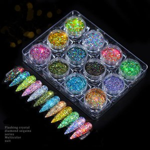 12 Box Nail Mermaid Glitter Powder Flakes Sparkly 3D Light Chameleon Color Changing Sequins Polish Manicure Nail Art Decorations