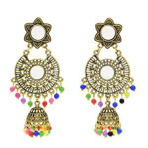 Vintage Silver Gold Metal Colorful Beads Tassel Drop Jhumka Earrings for Women Wedding Indian Ear Jewelry