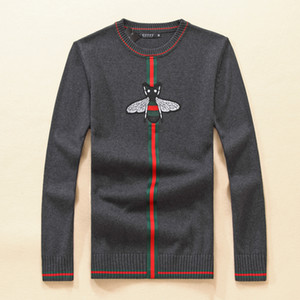 New Breathable fashion Warm Slim O-neck pullover street Men's sweater knitting bee designers man sweatshirt 4colors