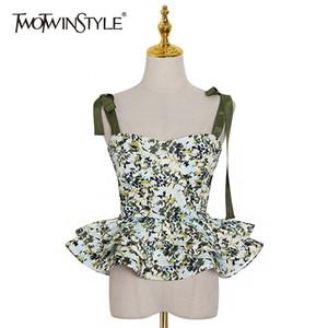 Causal Print Women Vest Square Collar Spaghetti Strap Sleeveless Hit Color Ruffles Vests Female Fashion Clothes New