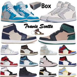 2021 con caja 1 alto OG 1S zapatos para hombre lobo gris vela travis scotts turbo green chicago mujeres deportes deporte zapatillas de deporte