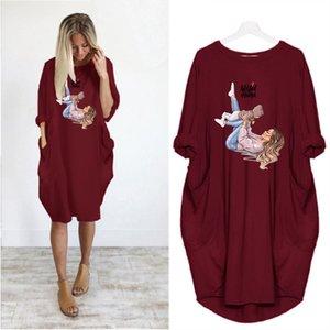 Women's DIY Dresses Fashion Summer Crew Neck T-Shirt Women's Long Sleeve Loose Casual Dress Women Brief Skirt 6 Colors Asian Size S-5XL A804