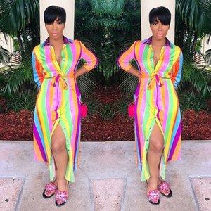AL057 autumn Women's Big rainbow stripe long AL057 shirt dress autumn Women's Big shirt dress rainbow stripe long