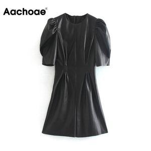 Aachoae Faux Leather Dress Women Sexy Club Puff Short Sleeve Bodycon Party Dress Vintage Pleated Tunic Black Mini Dress Vestidos CX200708