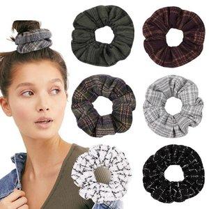 Scrunchie Hairband Plaid Woolen Hair Rope Elastic Hair Bands Vintage Ponytail Holder Winter Scrunchies Hair Accessories 17 Designs DW4761