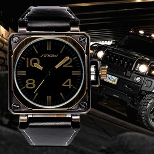 SINOBI Sports Square Watch Men Leather Watches Top Male Geneva Quartz Clock Marines Relogio Masculino Saat