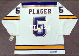 Mens # 5 BOB PLAGER St. Louis Blues 1967 CCM Vintage Zuhause-Hockey Jersey oder benutzerdefinierten beliebigen Namen oder Nummer Retro Jersey