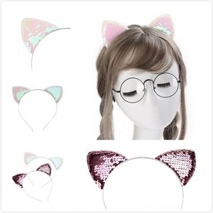 Hot Sale Handmade sequins AB color children's Sequins hair hair band Star Girl cat ear head band (-6)