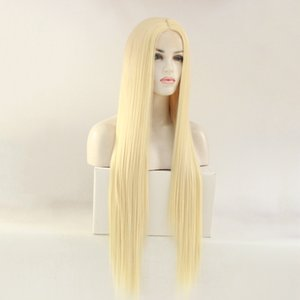 30 inch gold ladies straight hair fashion chemical fiber hair front lace hood half hand hook mechanism wig