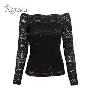 Romacci Sexy Women Hollow Out Lace Blouse Off Shoulder Slash Neck Long Sleeve Shirt Elegant Ladies XXXL XXXXL 5XL Plus Size Tops