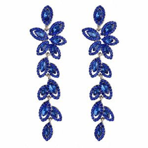 Red Purple Blue Silver Color Flower Crystal Long Drop Earrings For Girls Bridal Wedding Full Rhinestone Teardrop Fringe Earring