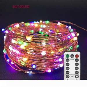 LED Luzes Cordas Twnikle de Luzes Waterproof 8 Modos 50Led LED 100 USB plug em fio de cobre Firefly Holiday Lights tira
