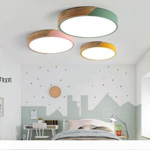 Lampe Lumières bois Nordic plafond LED Lampes moderne plafond coloré ronde PLAFOND ultra-mince Chambre Ceiling Light Fixture -RNB73
