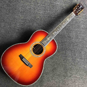 Custom 39 Inch Custom OOO Solid Spruce Top Acoustic Guitar All Abalone Binding Ebony Fingerboard Guitar Rosewood Back Side Free Shipping