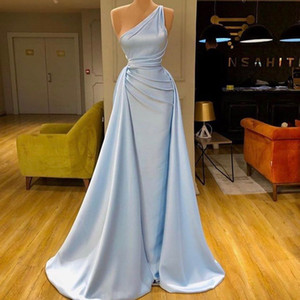 2020 sexy elegant long stain evening gowns sky blue black girl with detachable train woman dress sleeveless prom formal dresses mermaid