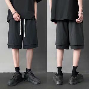 Summer Fake Two Pieces Sweatshorts 2020 New Arrival Streetwear Hip Hop Running Shorts Harajuku Kpop Patchwork Jogger Knee Length