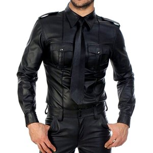 couro homens Faux Long Sleeve Shirts PU Leather camisetas Homens Sexy aptidão Tops Gay Latex T-shirt Tees Sexy partido Clubwear