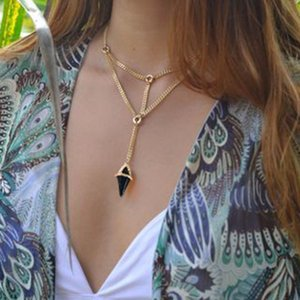 New Style Double Layer Pendant Necklace Fashion Punk Geometric Metal Chain Necklaces For Women Boho Party Jewelry Gift