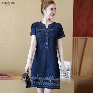 Denim Dress For Women 2020 New Casual Jeans Dress Loose Short Sleeve Vintage Denim Dress Plus Size 5Xl Dropship