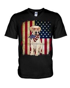 Erkekler T Shirt LABRADOR - FLAG AMERİKAN (8) Kadın tişörtleri