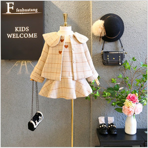 2020 New Arrivals Girls Clothing Sets Autumn Winter Kids Woolen Coats+Dress 2pcs Set High Quality Girl Suit Children Outfits 3-9Years
