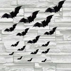 16PCS الديكور هالوين 3D PVC ملصقات الحائط غرفة المعيشة الأسود ستيريو بات القابل للماء خلفيات ديكور منازل المنزل والحديقة HA1009