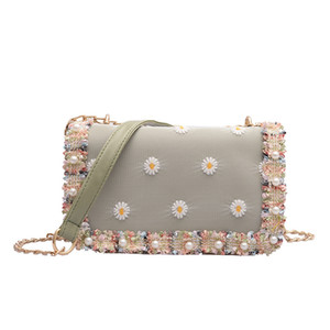 Ladies Flower Embroidery Shoulder Bag Chain Shoulder Strap Faux Pearl Messenger Bag Sweet Style Square Crossbody